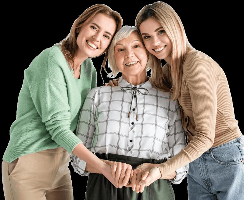 riesapark familie grossmutter mit enkelinnen